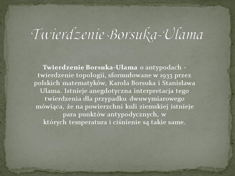 Twierdzenie Borsuka-Ulama o antypodach - twierdzenie topologii, sformułowane w 1933 przez polskich matematyków, Karola Borsuka i Stanisława Ulama. Ist