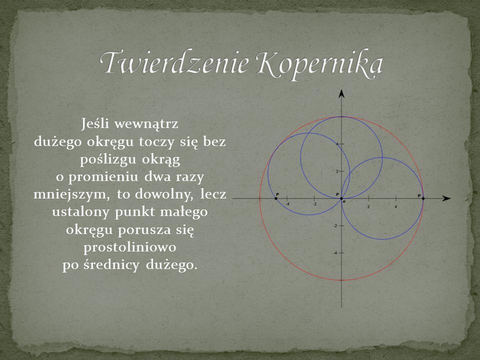 Jeśli wewnątrz dużego okręgu toczy się bez poślizgu okrąg o promieniu dwa razy mniejszym, to dowolny, lecz ustalony punkt małego okręgu porusza się pr