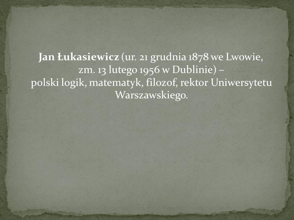Jan Łukasiewicz (ur. 21 grudnia 1878 we Lwowie, zm. 13 lutego 1956 w Dublinie) – polski logik, matematyk, filozof, rektor Uniwersytetu Warszawskiego.