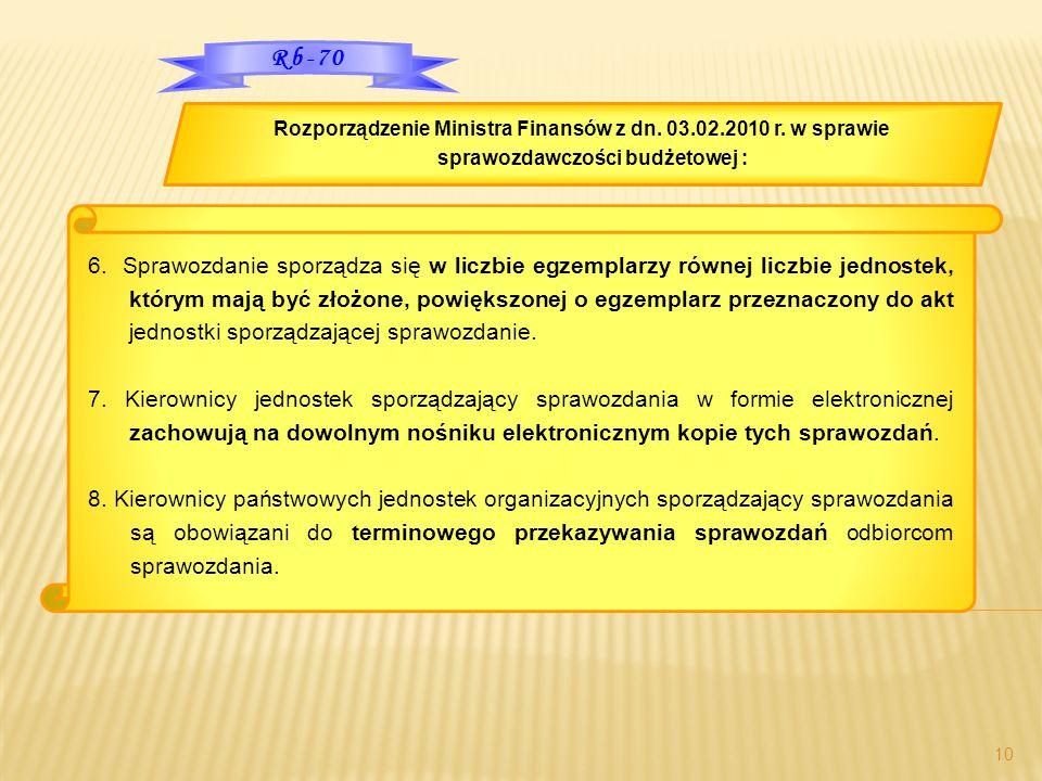 10 6. Sprawozdanie sporządza się w liczbie egzemplarzy równej liczbie jednostek, którym mają być złożone, powiększonej o egzemplarz przeznaczony do ak