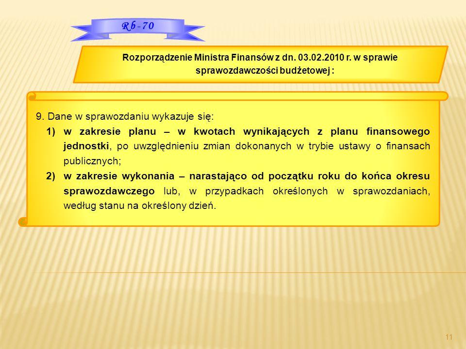 11 Rozporządzenie Ministra Finansów z dn. 03.02.2010 r. w sprawie sprawozdawczości budżetowej : Rb-70 9. Dane w sprawozdaniu wykazuje się: 1)w zakresi