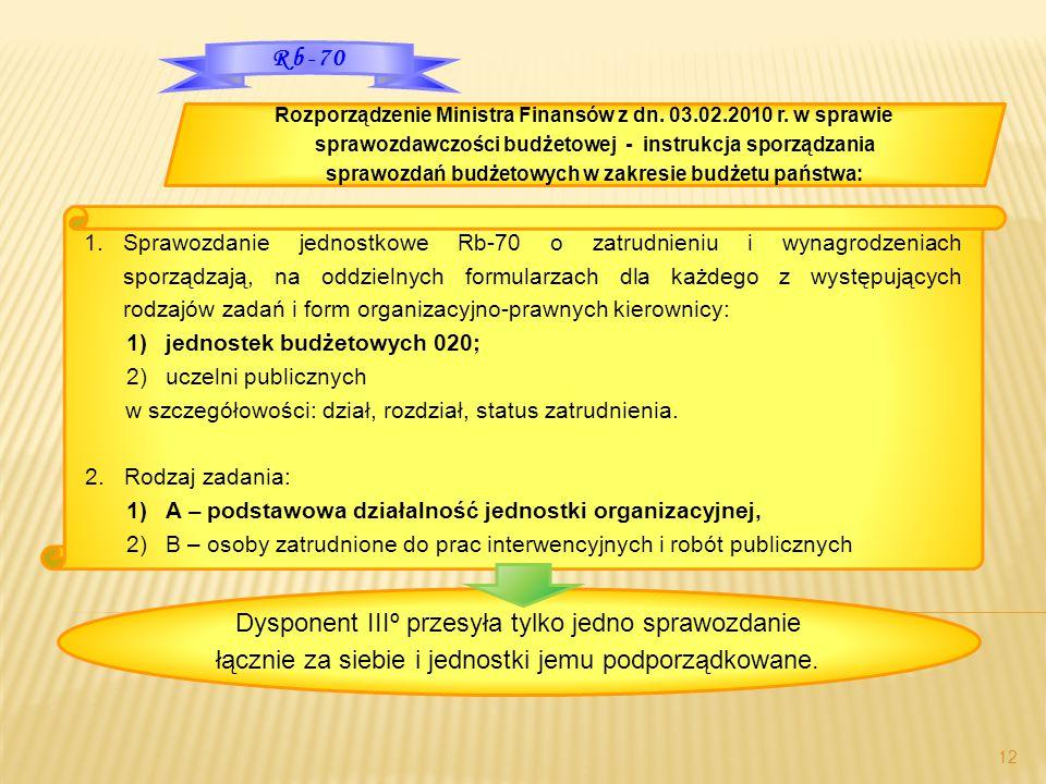 12 1.Sprawozdanie jednostkowe Rb-70 o zatrudnieniu i wynagrodzeniach sporządzają, na oddzielnych formularzach dla każdego z występujących rodzajów zad