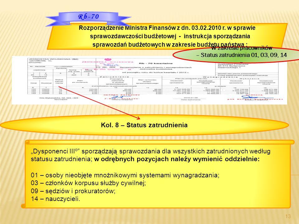 """""""Dysponenci IIIº"""" sporządzają sprawozdania dla wszystkich zatrudnionych według statusu zatrudnienia; w odrębnych pozycjach należy wymienić oddzielnie:"""