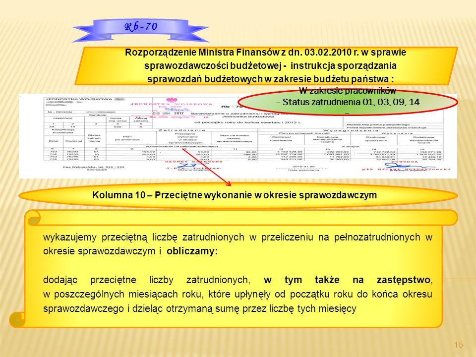 15 Rozporządzenie Ministra Finansów z dn. 03.02.2010 r. w sprawie sprawozdawczości budżetowej - instrukcja sporządzania sprawozdań budżetowych w zakre