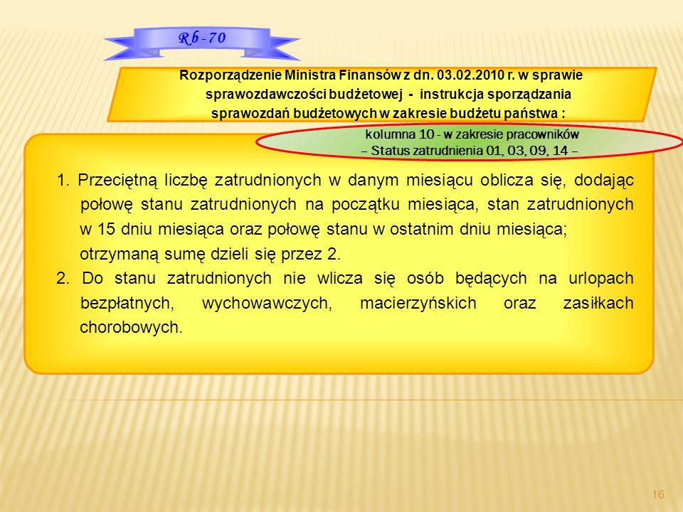 Rozporządzenie Ministra Finansów z dn. 03.02.2010 r. w sprawie sprawozdawczości budżetowej - instrukcja sporządzania sprawozdań budżetowych w zakresie