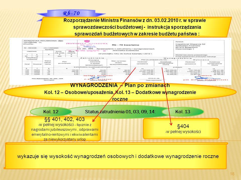 Rb-70 18 Rozporządzenie Ministra Finansów z dn. 03.02.2010 r. w sprawie sprawozdawczości budżetowej - instrukcja sporządzania sprawozdań budżetowych w