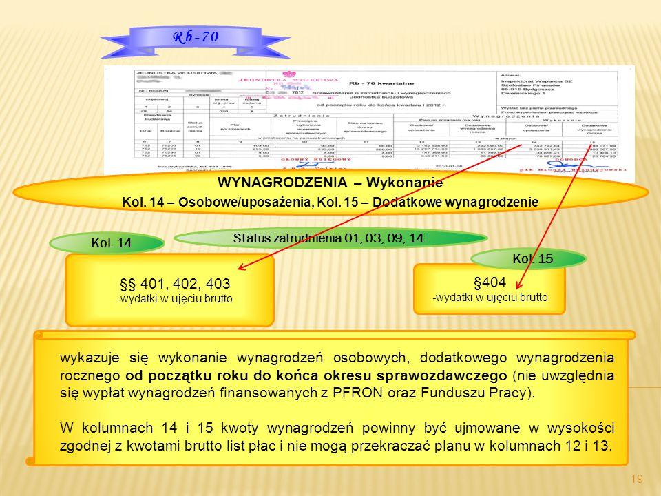 19 Rb-70 WYNAGRODZENIA – Wykonanie Kol. 14 – Osobowe/uposażenia, Kol. 15 – Dodatkowe wynagrodzenie Status zatrudnienia 01, 03, 09, 14: §404 -wydatki w
