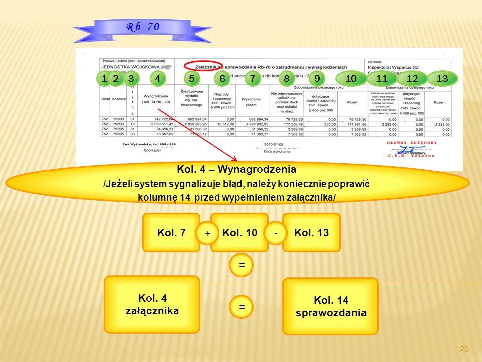 12345678910121113 20 Rb-70 Kol. 4 – Wynagrodzenia /Jeżeli system sygnalizuje błąd, należy koniecznie poprawić kolumnę 14 przed wypełnieniem załącznika