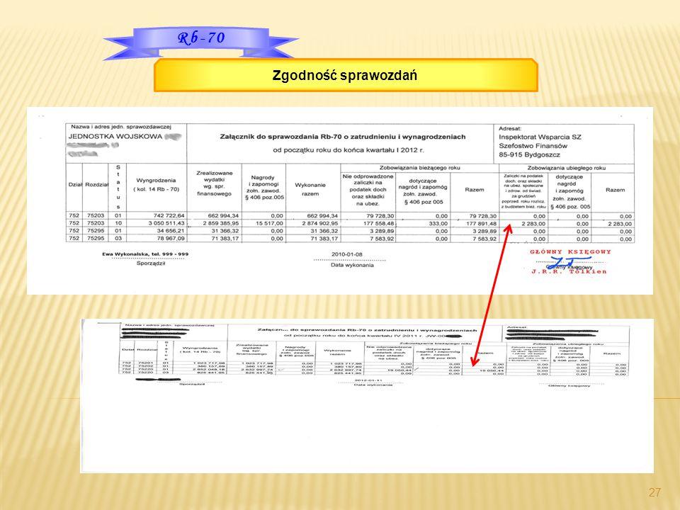 27 Rb-70 Zgodność sprawozdań