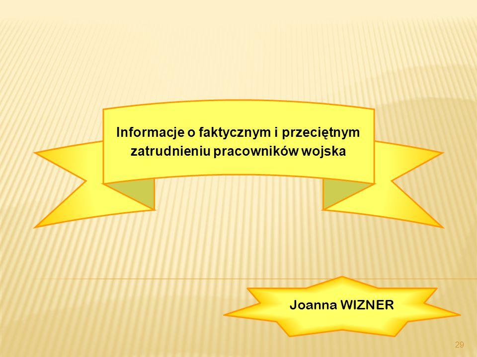 29 Informacje o faktycznym i przeciętnym zatrudnieniu pracowników wojska Joanna WIZNER