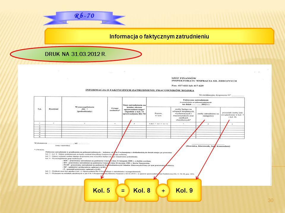 30 Rb-70 Informacja o faktycznym zatrudnieniu Kol. 5Kol. 8 = Kol. 9 + DRUK NA 31.03.2012 R.