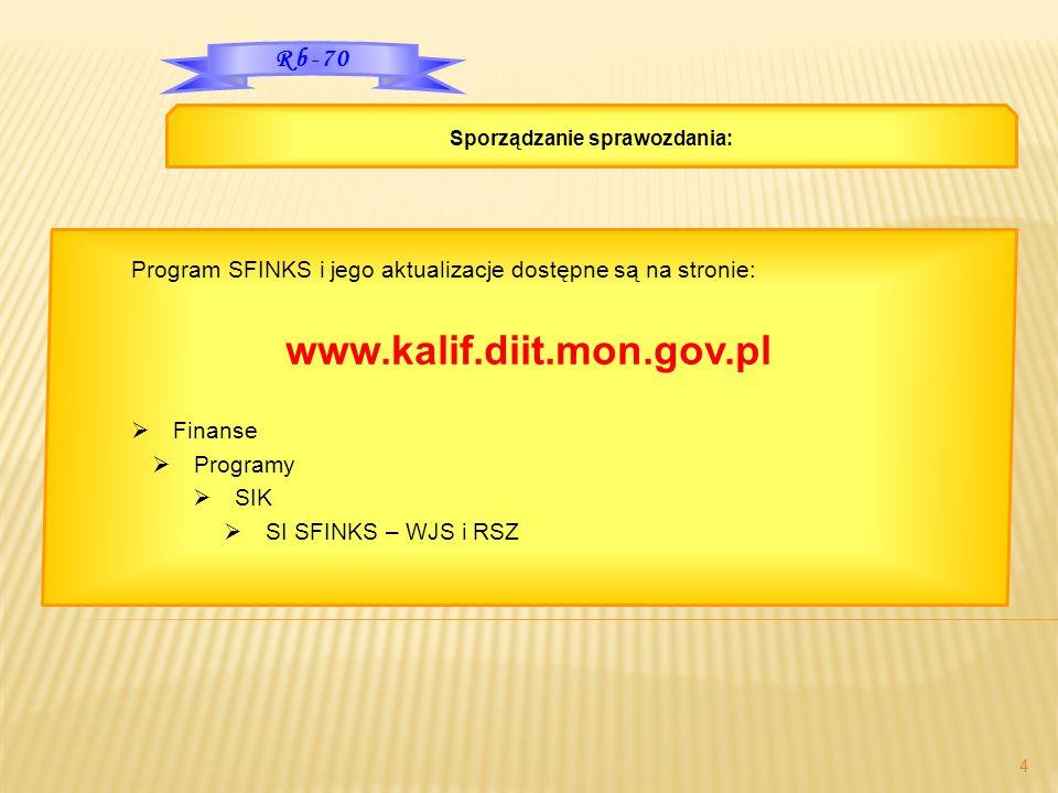 4 Program SFINKS i jego aktualizacje dostępne są na stronie: www.kalif.diit.mon.gov.pl  Finanse  Programy  SIK  SI SFINKS – WJS i RSZ Sporządzanie