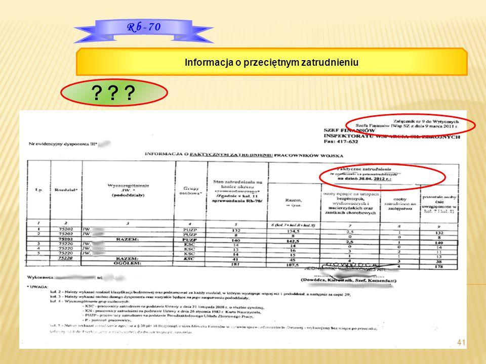 41 Rb-70 Informacja o przeciętnym zatrudnieniu ? ? ?