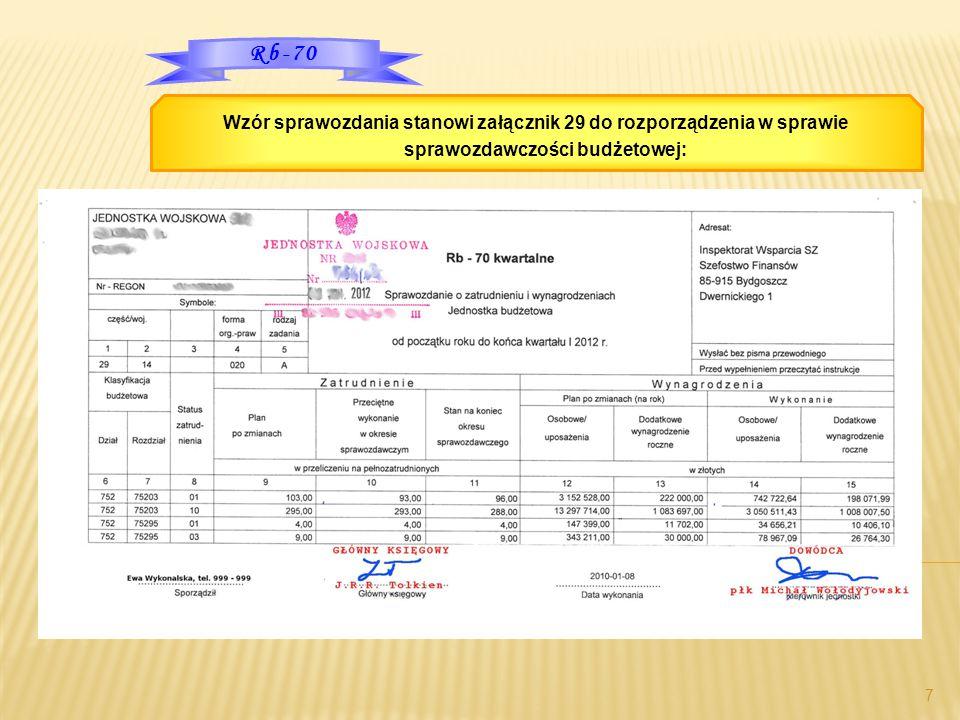 7 Wzór sprawozdania stanowi załącznik 29 do rozporządzenia w sprawie sprawozdawczości budżetowej: Rb-70