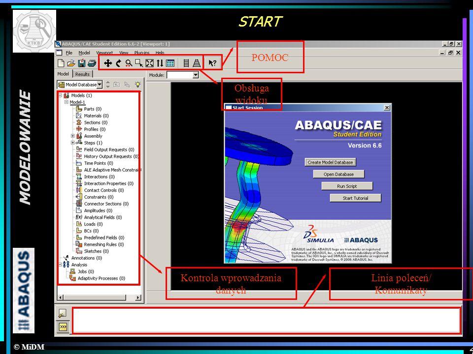 © MiDM MODELOWANIE 4 START Kontrola wprowadzania danych Obsługa widoku POMOC Linia poleceń/ Komunikaty