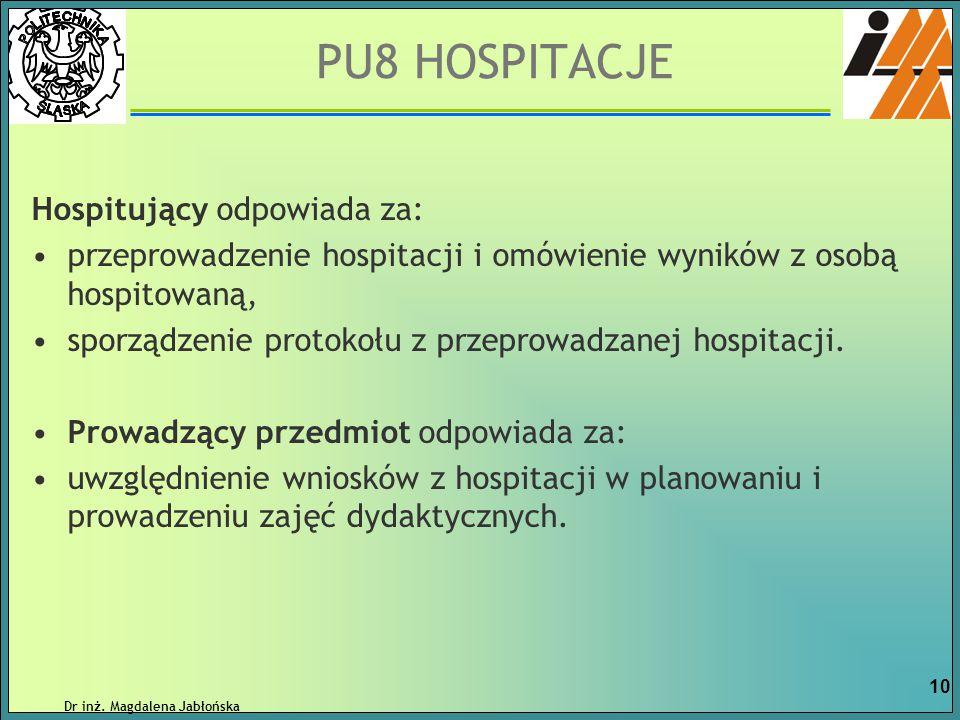 PU8 HOSPITACJE Hospitujący odpowiada za: przeprowadzenie hospitacji i omówienie wyników z osobą hospitowaną, sporządzenie protokołu z przeprowadzanej