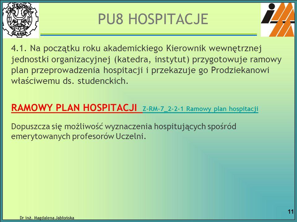 4.1. Na początku roku akademickiego Kierownik wewnętrznej jednostki organizacyjnej (katedra, instytut) przygotowuje ramowy plan przeprowadzenia hospit
