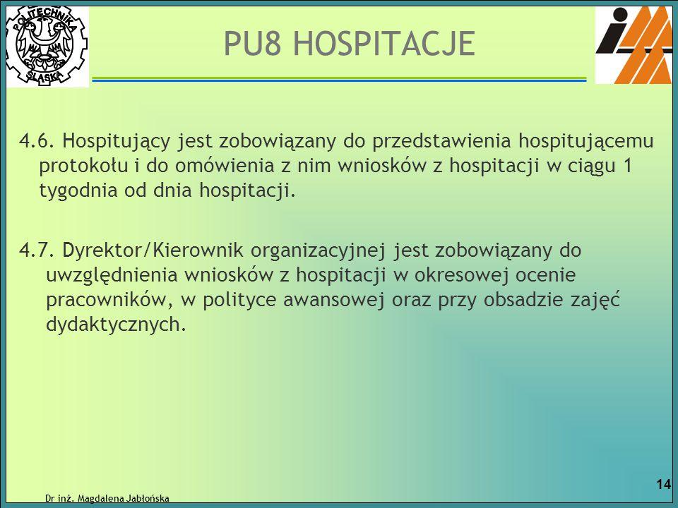 4.6. Hospitujący jest zobowiązany do przedstawienia hospitującemu protokołu i do omówienia z nim wniosków z hospitacji w ciągu 1 tygodnia od dnia hosp