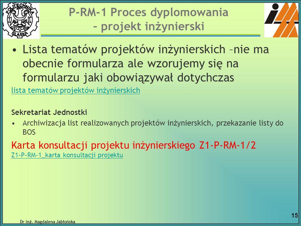 P-RM-1 Proces dyplomowania – projekt inżynierski Lista tematów projektów inżynierskich –nie ma obecnie formularza ale wzorujemy się na formularzu jaki