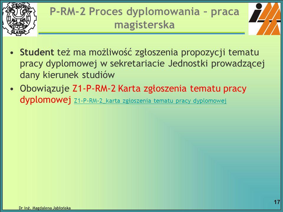 P-RM-2 Proces dyplomowania – praca magisterska Student też ma możliwość zgłoszenia propozycji tematu pracy dyplomowej w sekretariacie Jednostki prowad