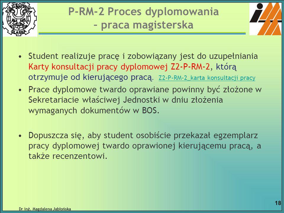 P-RM-2 Proces dyplomowania – praca magisterska Student realizuje pracę i zobowiązany jest do uzupełniania Karty konsultacji pracy dyplomowej Z2-P-RM-2