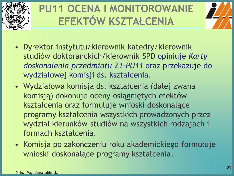 Dyrektor instytutu/kierownik katedry/kierownik studiów doktoranckich/kierownik SPD opiniuje Karty doskonalenia przedmiotu Z1-PU11 oraz przekazuje do w