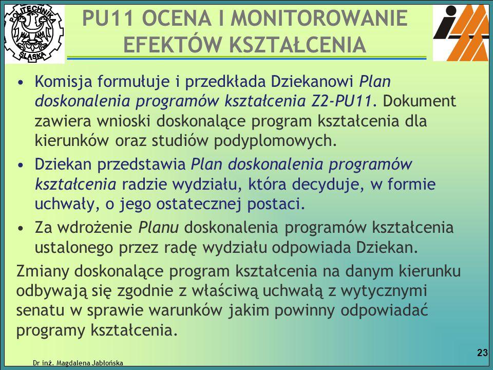 Komisja formułuje i przedkłada Dziekanowi Plan doskonalenia programów kształcenia Z2-PU11. Dokument zawiera wnioski doskonalące program kształcenia dl