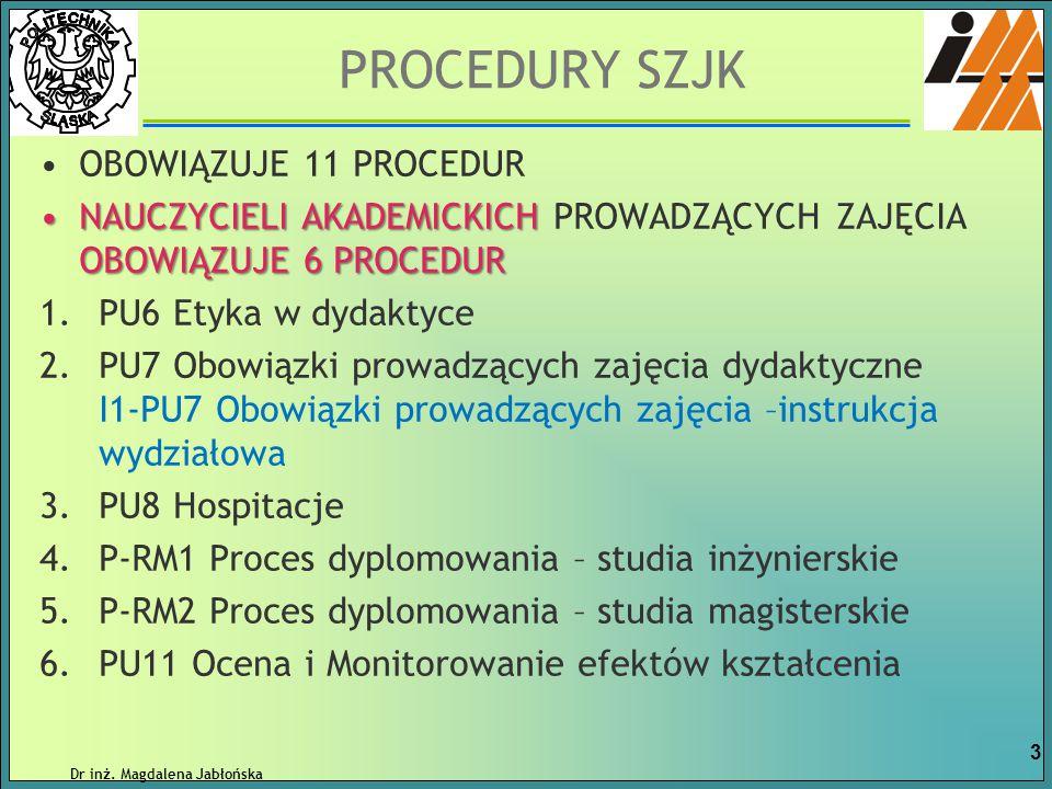 INFORMACJE i dokumenty znajdują się na stronie wydziałowej: SZJK DOKUMENTY DO POBRANIA Dr inż.