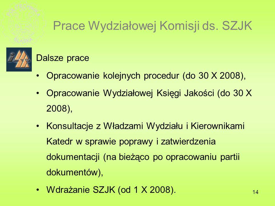 14 Prace Wydziałowej Komisji ds. SZJK Dalsze prace Opracowanie kolejnych procedur (do 30 X 2008), Opracowanie Wydziałowej Księgi Jakości (do 30 X 2008