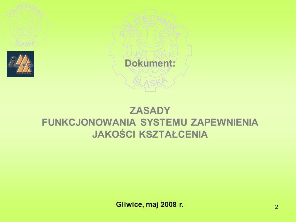 2 Dokument: ZASADY FUNKCJONOWANIA SYSTEMU ZAPEWNIENIA JAKOŚCI KSZTAŁCENIA Gliwice, maj 2008 r.