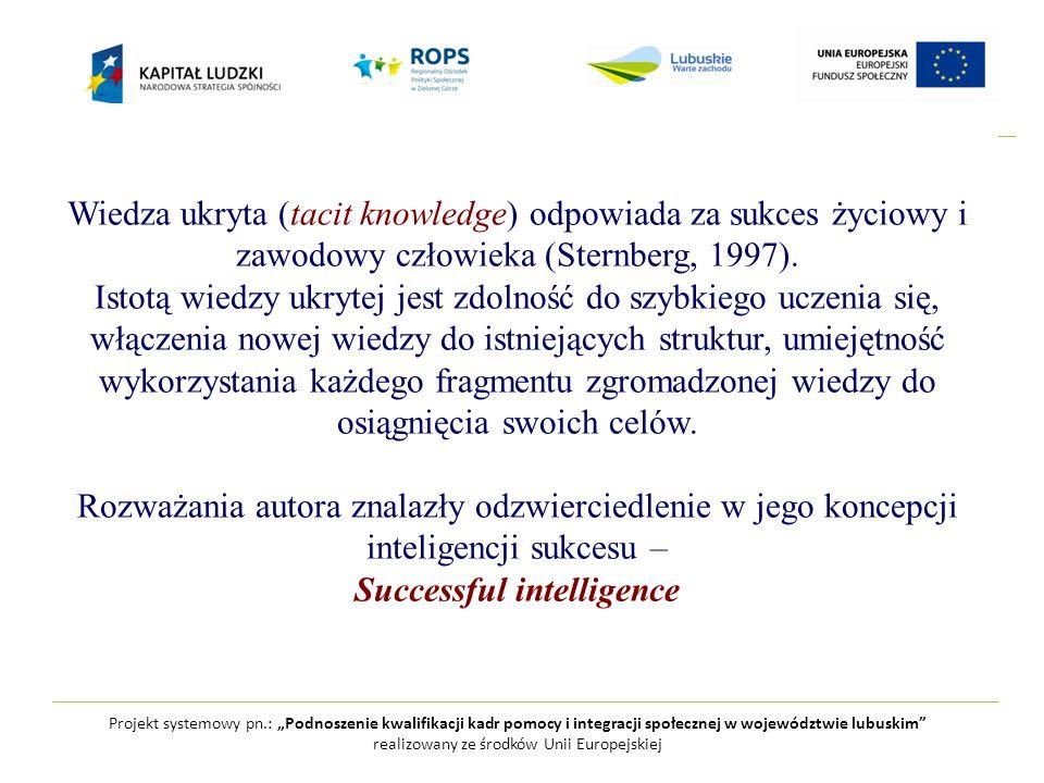 """Projekt systemowy pn.: """"Podnoszenie kwalifikacji kadr pomocy i integracji społecznej w województwie lubuskim realizowany ze środków Unii Europejskiej Wiedza ukryta (tacit knowledge) odpowiada za sukces życiowy i zawodowy człowieka (Sternberg, 1997)."""
