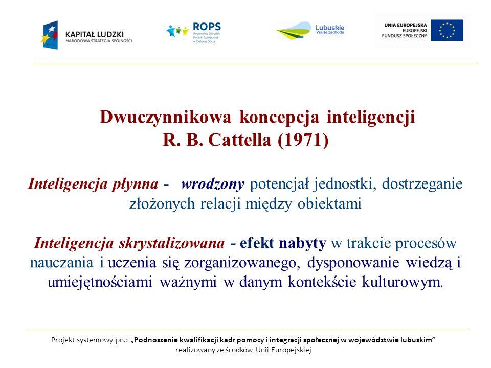 """Projekt systemowy pn.: """"Podnoszenie kwalifikacji kadr pomocy i integracji społecznej w województwie lubuskim realizowany ze środków Unii Europejskiej Dwuczynnikowa koncepcja inteligencji R."""