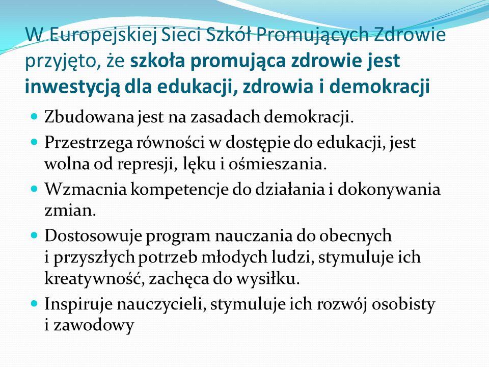 W Europejskiej Sieci Szkół Promujących Zdrowie przyjęto, że szkoła promująca zdrowie jest inwestycją dla edukacji, zdrowia i demokracji Zbudowana jest na zasadach demokracji.