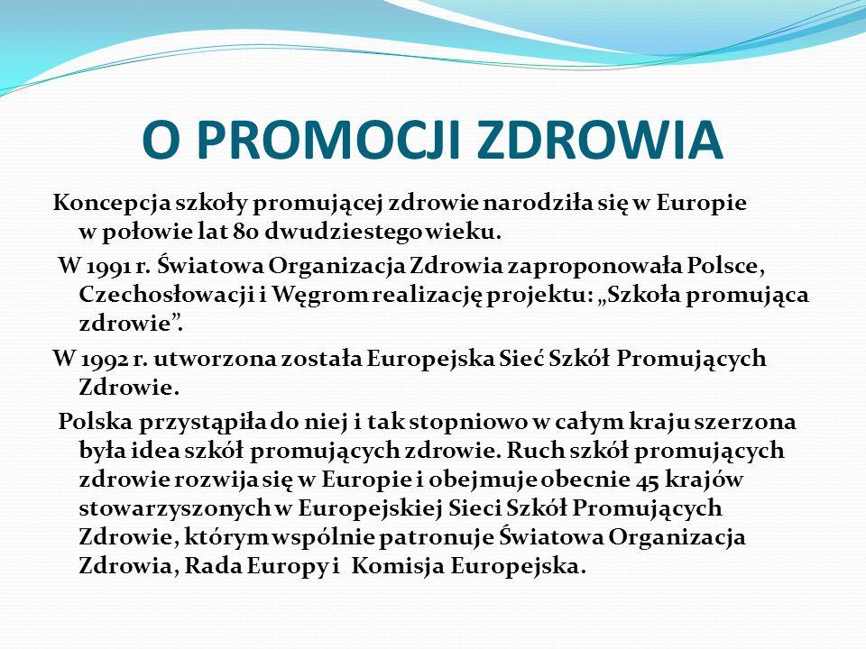 O PROMOCJI ZDROWIA Koncepcja szkoły promującej zdrowie narodziła się w Europie w połowie lat 80 dwudziestego wieku.