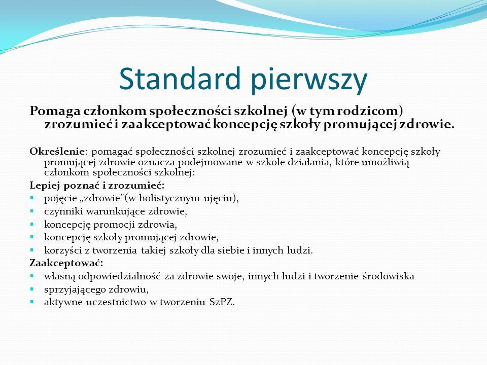 Standard pierwszy Pomaga członkom społeczności szkolnej (w tym rodzicom) zrozumieć i zaakceptować koncepcję szkoły promującej zdrowie.