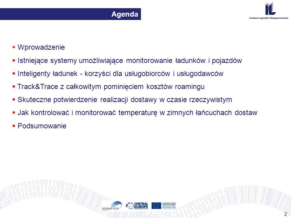 Agenda 2  Wprowadzenie  Istniejące systemy umożliwiające monitorowanie ładunków i pojazdów  Inteligenty ładunek - korzyści dla usługobiorców i usłu
