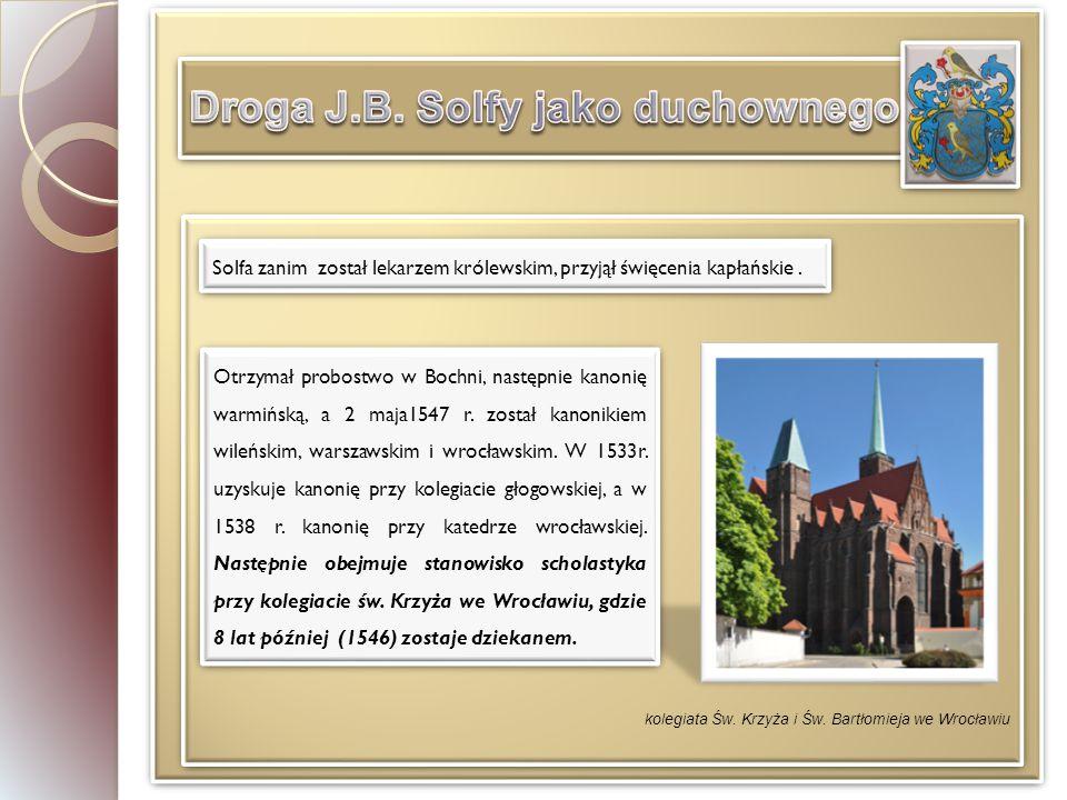 Solfa zanim został lekarzem królewskim, przyjął święcenia kapłańskie.