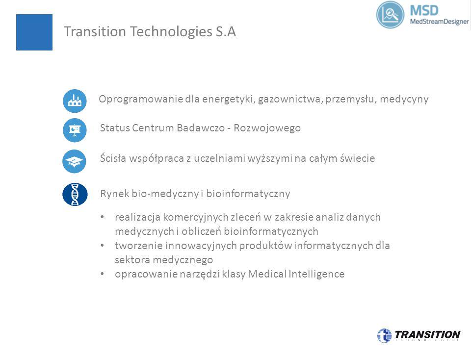 Ścisła współpraca z uczelniami wyższymi na całym świecie Status Centrum Badawczo - Rozwojowego realizacja komercyjnych zleceń w zakresie analiz danych medycznych i obliczeń bioinformatycznych tworzenie innowacyjnych produktów informatycznych dla sektora medycznego opracowanie narzędzi klasy Medical Intelligence Rynek bio-medyczny i bioinformatyczny Transition Technologies S.A Oprogramowanie dla energetyki, gazownictwa, przemysłu, medycyny