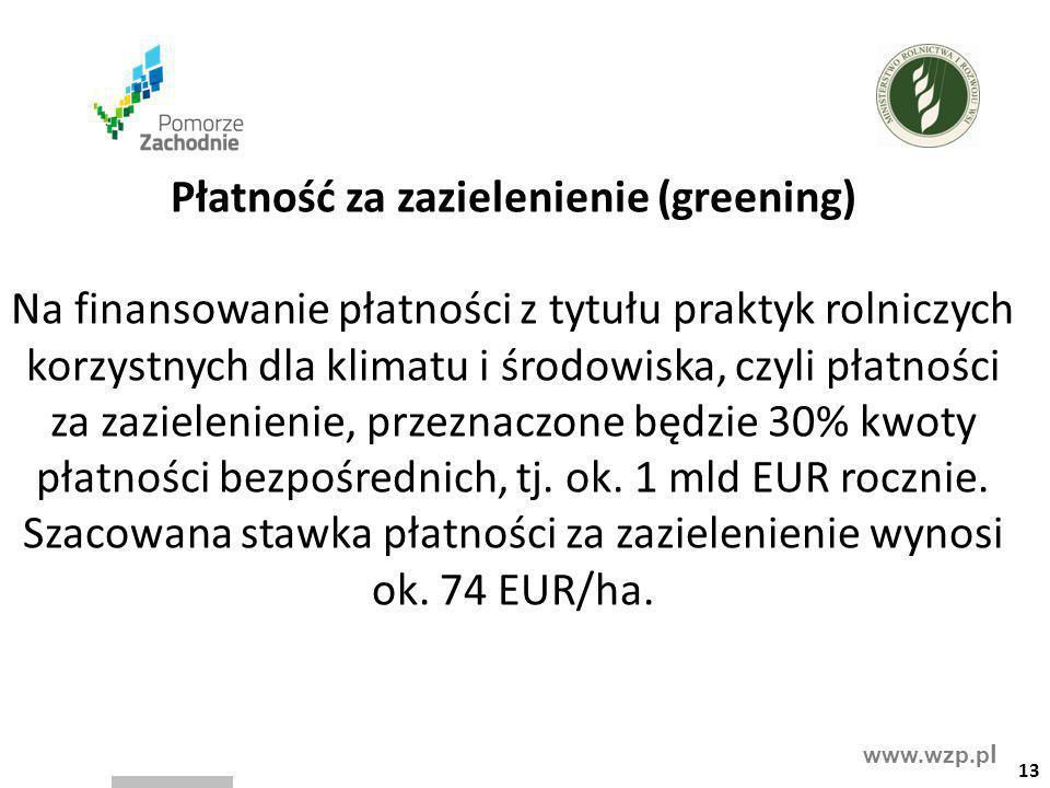 www.wzp.p l Płatność za zazielenienie (greening) Na finansowanie płatności z tytułu praktyk rolniczych korzystnych dla klimatu i środowiska, czyli pła