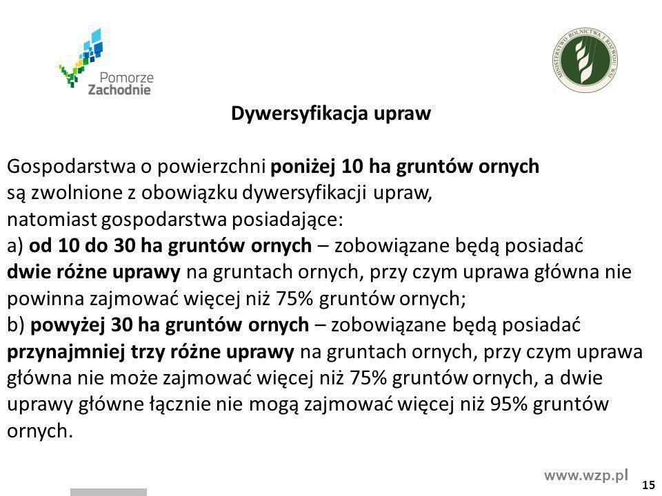 www.wzp.p l Dywersyfikacja upraw Gospodarstwa o powierzchni poniżej 10 ha gruntów ornych są zwolnione z obowiązku dywersyfikacji upraw, natomiast gosp