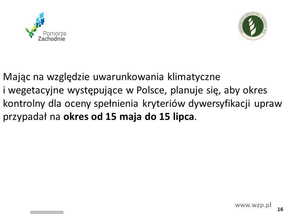 www.wzp.p l Mając na względzie uwarunkowania klimatyczne i wegetacyjne występujące w Polsce, planuje się, aby okres kontrolny dla oceny spełnienia kry