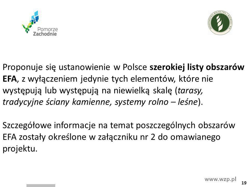 www.wzp.p l Proponuje się ustanowienie w Polsce szerokiej listy obszarów EFA, z wyłączeniem jedynie tych elementów, które nie występują lub występują