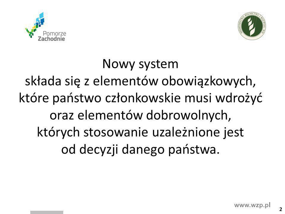 www.wzp.p l Nowy system składa się z elementów obowiązkowych, które państwo członkowskie musi wdrożyć oraz elementów dobrowolnych, których stosowanie