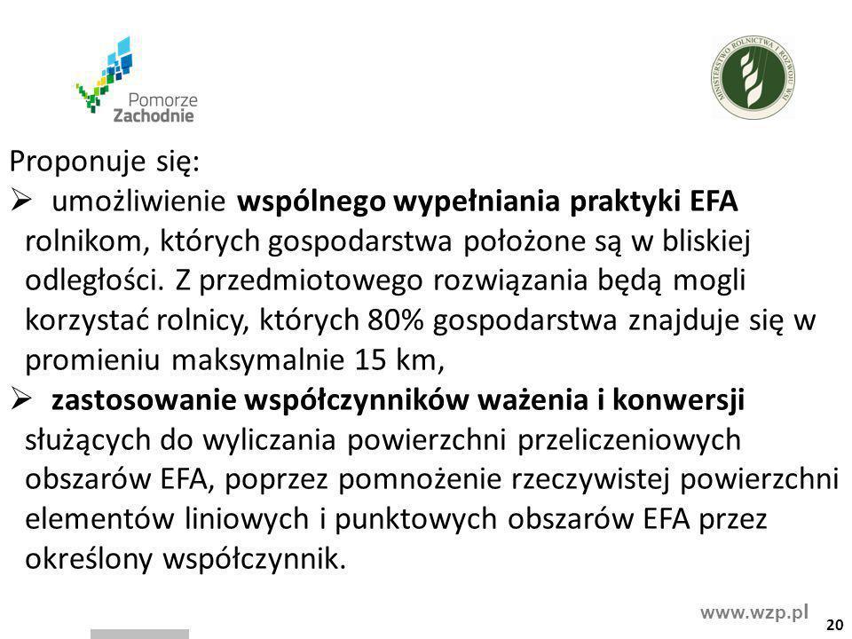 www.wzp.p l Proponuje się:  umożliwienie wspólnego wypełniania praktyki EFA rolnikom, których gospodarstwa położone są w bliskiej odległości. Z przed