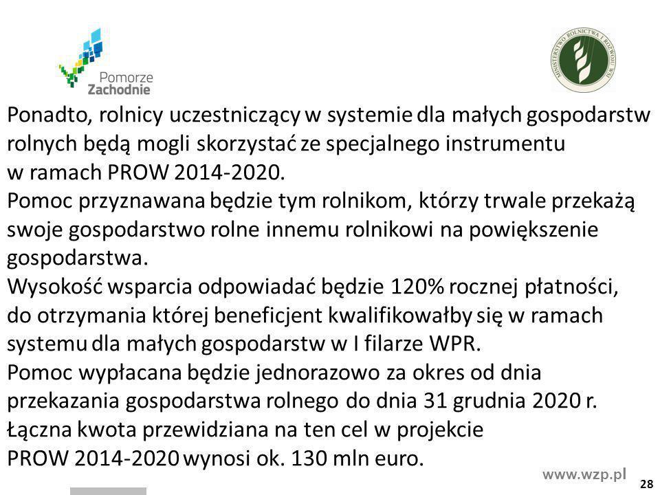 www.wzp.p l Ponadto, rolnicy uczestniczący w systemie dla małych gospodarstw rolnych będą mogli skorzystać ze specjalnego instrumentu w ramach PROW 20