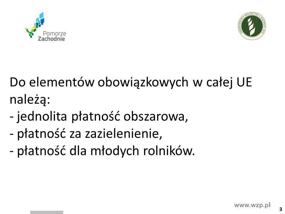 www.wzp.p l Spośród elementów dobrowolnych w systemie płatności bezpośrednich MRiRW proponuje wdrożenie w Polsce: - płatności dla małych gospodarstw, - płatności związanych z produkcją, - przejściowego wsparcia krajowego, - płatności dodatkowej.