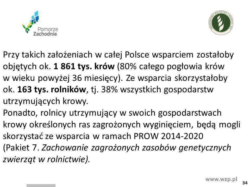 www.wzp.p l Przy takich założeniach w całej Polsce wsparciem zostałoby objętych ok. 1 861 tys. krów (80% całego pogłowia krów w wieku powyżej 36 miesi