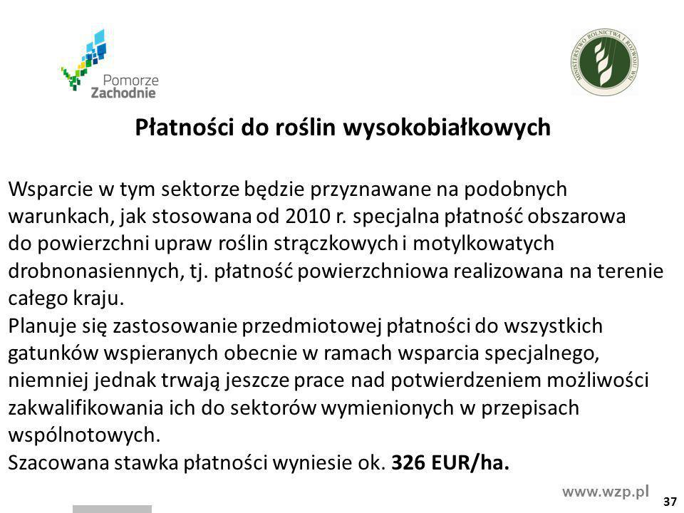 www.wzp.p l Płatności do roślin wysokobiałkowych Wsparcie w tym sektorze będzie przyznawane na podobnych warunkach, jak stosowana od 2010 r. specjalna