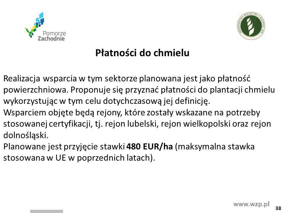 www.wzp.p l Płatności do chmielu Realizacja wsparcia w tym sektorze planowana jest jako płatność powierzchniowa. Proponuje się przyznać płatności do p