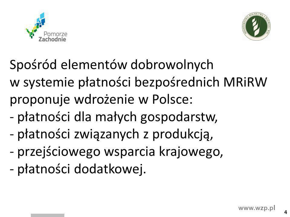 www.wzp.p l Spośród elementów dobrowolnych w systemie płatności bezpośrednich MRiRW proponuje wdrożenie w Polsce: - płatności dla małych gospodarstw,